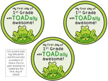 Froggie Themed Brag Tags {Frog Pond} 1st Day Back to School Necklace