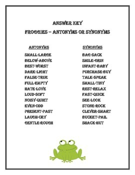 Froggies - Antonyms and Synonyms