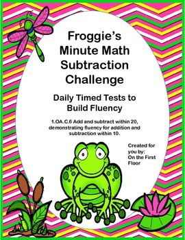Froggie's Minute Math Subtraction Challenge-Daily Timed Tests to Build Fluency