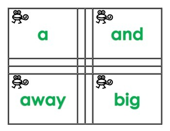 Frogging for Sight Word Pre-Primer and Primer Flash Cards