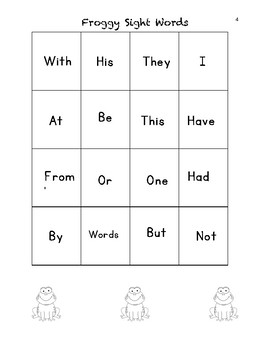 Froggy 100 Fry Sight Word Game