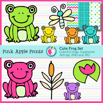 Colorful Froggy Clipart Set Frog