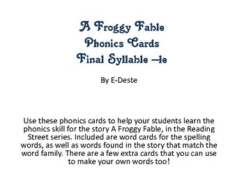 Froggy Fable Phonics Cards: Final Syllable -le