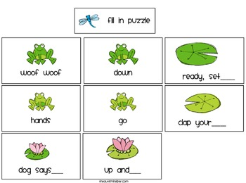 Froggy Fill Ins {puzzles and games to work on teaching verbal responses}