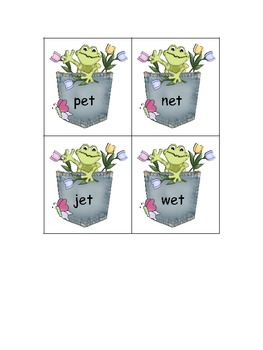 Froggy Friends File Folder Game - Sorting -ed -et Word Families