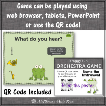 Name the Orchestra Instruments Interactive Music Game {Froggy Fun}