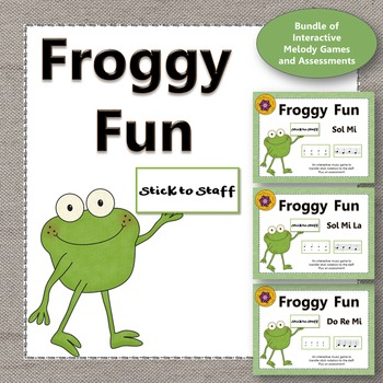 Froggy Fun Stick to Staff Melody Bundle Interactive Music Games + Assessments