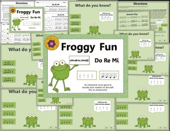 Do Re Mi Stick to Staff Interactive Melody Game + Assessment {Froggy Fun}