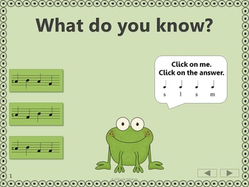 Froggy Fun Stick to Staff with Sol Mi La + Assessment (Interactive Music Game)