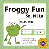Sol Mi La Stick to Staff Interactive Melody Game + Assessment {Froggy Fun}
