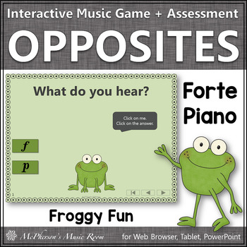 Forte and Piano + Assessment Interactive Music Game {Music Opposite Froggy Fun}