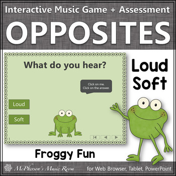 Loud and Soft + Assessment Interactive Music Game {Music Opposite Froggy Fun}