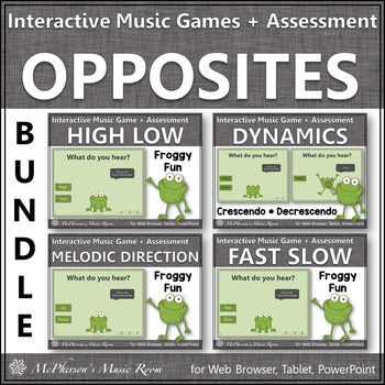 Music Opposites Bundle of Interactive Music Games + Assessments {Froggy Fun}
