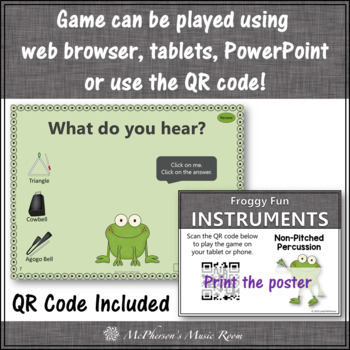 Froggy Fun with Non-Pitched Percussion + Assessment (Interactive Music Game)