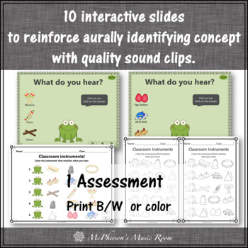 Non-Pitched Percussion + Assessment Interactive Music Game {Froggy Fun}
