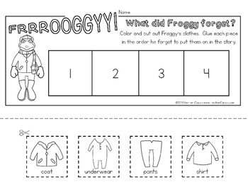 Froggy Gets Dressed Sequence and Retelling Cards with Activities (Math Literacy)