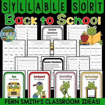 Froggy Goes to School Syllable Sort Center Games