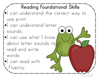 """Froggy """"I Can"""" Statements for First Grade"""