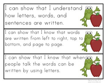 """Froggy """"I Can"""" Statements for Kindergarten"""
