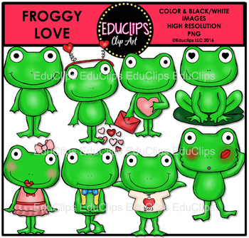 Froggy Love Clip Art Bundle {Educlips Clipart}