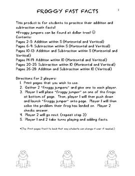 Froggy Math Fact Game