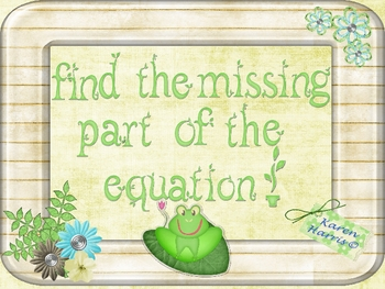 Froggy Missing Number Equations - Algebraic Thinking {Common Core}
