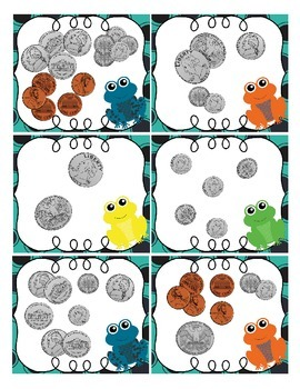Counting coins to $1.00: task card sample