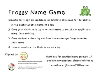 Froggy Name Game