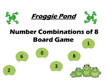 Froggy Pond....Number Combinations to 8 Board Game