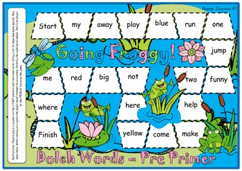 Froggy Sight Word Board Game - Based on Dolch Pre-Primer Words