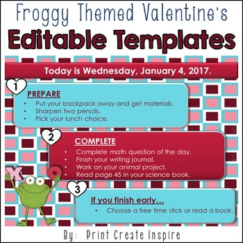 Froggy Valentine S Themed Morning Work Powerpoint Templates Tpt