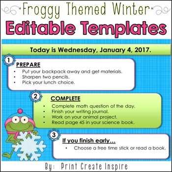 Froggy Winter Themed Morning Work Powerpoint Templates By Print