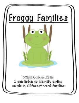 Froggy Word Families File Folder