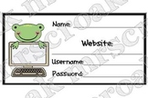 Cards: Frog computer password reminders, 10 per page