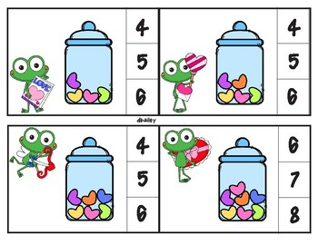 Froggy's Candy Hearts Clip Cards Counting 0 through 20