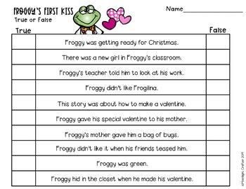 Froggy's First Kiss Comprehension Activities