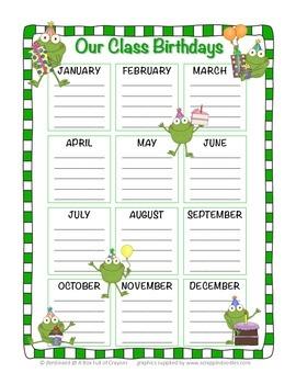 Frogs Birthday Chart