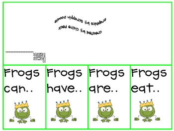 Frogs Can, Are, Have, Eat 4-square graphic organizer and foldable