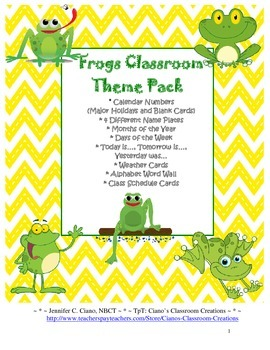 Frogs Classroom Theme Pack