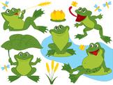 Frogs Clipart - Digital Vector Frog, Green, Frog, Pond, Dr