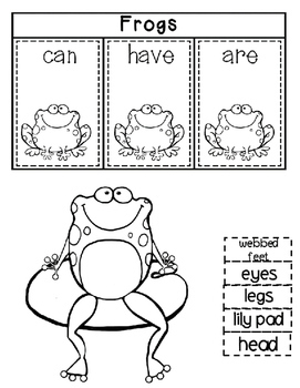 Frogs Activities Interactive Notebook Lapbook