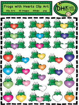 Frogs & Hearts Clip Art - Personal and Commercial Use
