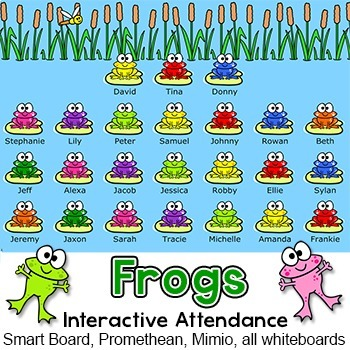 Frog Theme Attendance for All Whiteboards and Smartboards