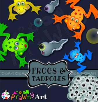 Frogs and Tadpoles Amphibian Clip Art Set