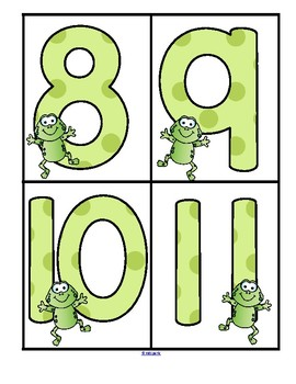 Frogs Theme Large Numbers 0-20