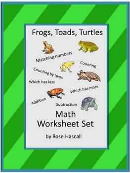 Frogs,Toads,Turtles NO PREP Math Center Counting, Addition