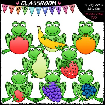 Frogs With Fruit Clip Art & B&W Set