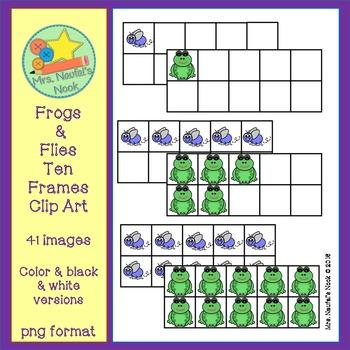 Frogs and Flies Ten Frames Clip Art