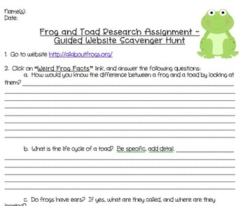 Frogs and Toads Guided Webquest Scavenger Hunt + Lesson Plan