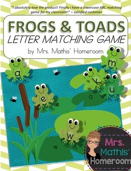 Frogs and Toads Letter Matching Game